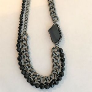 Kenneth Cole Black Chain & Faceted Bead Necklace